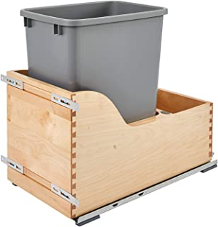 Rev-A-Shelf - 4WCSC-1535DM-1 - Single 35 Qt. Pull-Out Bottom Mount Wood and Silver Waste Container with Soft-Close Slides