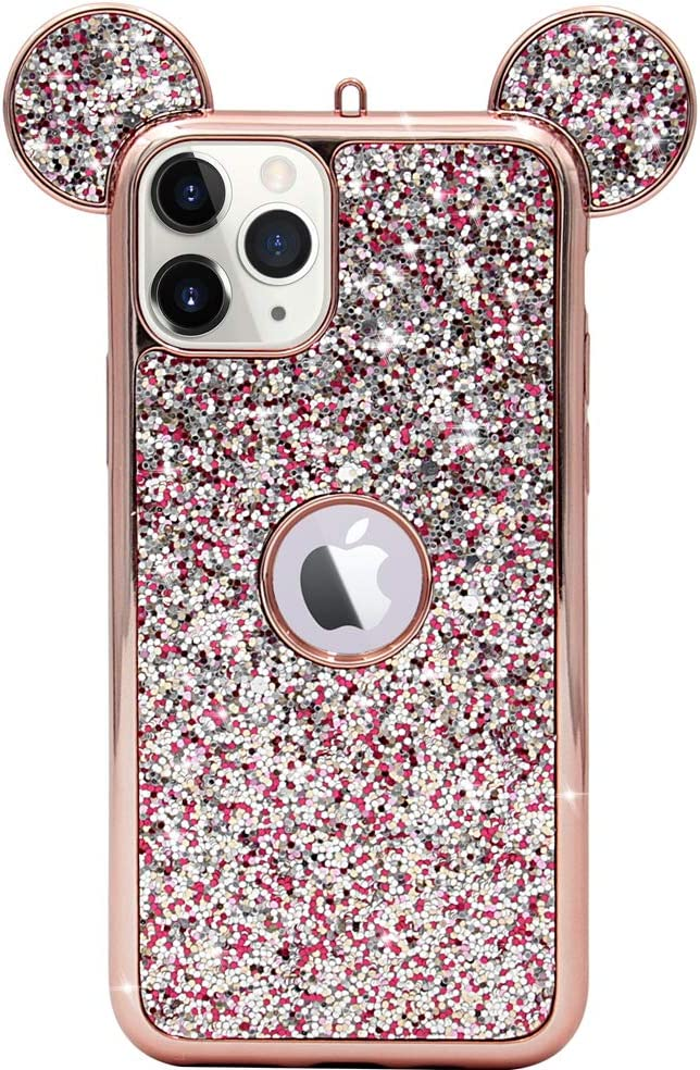 MC Fashion iPhone 11 Pro Case, Cute 3D Sparkly Bling Glitter Mickey Mouse Ears Case for Teens Girls Women, Slim Fit Full-Body Protective Soft TPU Case for Apple iPhone 11 Pro 5.8 inch 2019 (Rose Gold)