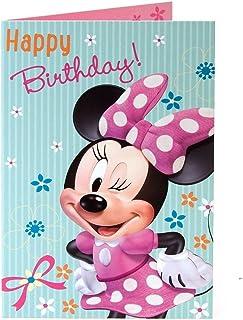 Minnie Mouse Joyeux anniversaire. en rose et blanc à pois Robe carte d'anniversaire