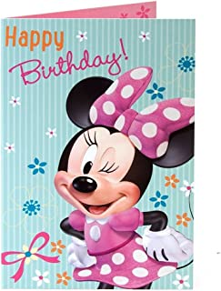 Minnie mouse happy birthday! in pink and white spotty dress birthday card