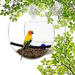 DUTUI Comedero para pájaros al Aire Libre, comedero Transparente para colibríes y Loros, comedero para pájaros de plexiglá...