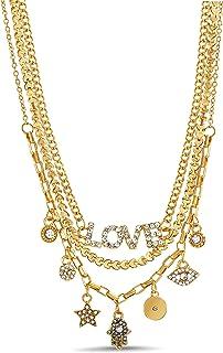 Steve Madden Rhinestone Love Star Evil Eye Hamsa Yellow 3 Row Layered Chain Necklace for Women
