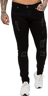 "Enzo Mens Super Skinny Ripped Jeans Stretch Frayed Denim Pants Waist Sizes 28"" - 42"""