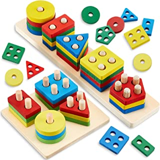 2 Set Montessori Toys for 1 2 3 Year Old Wooden Stacking and Sorting Toys Color Recognition Stack Wooden Blocks Toys for T...