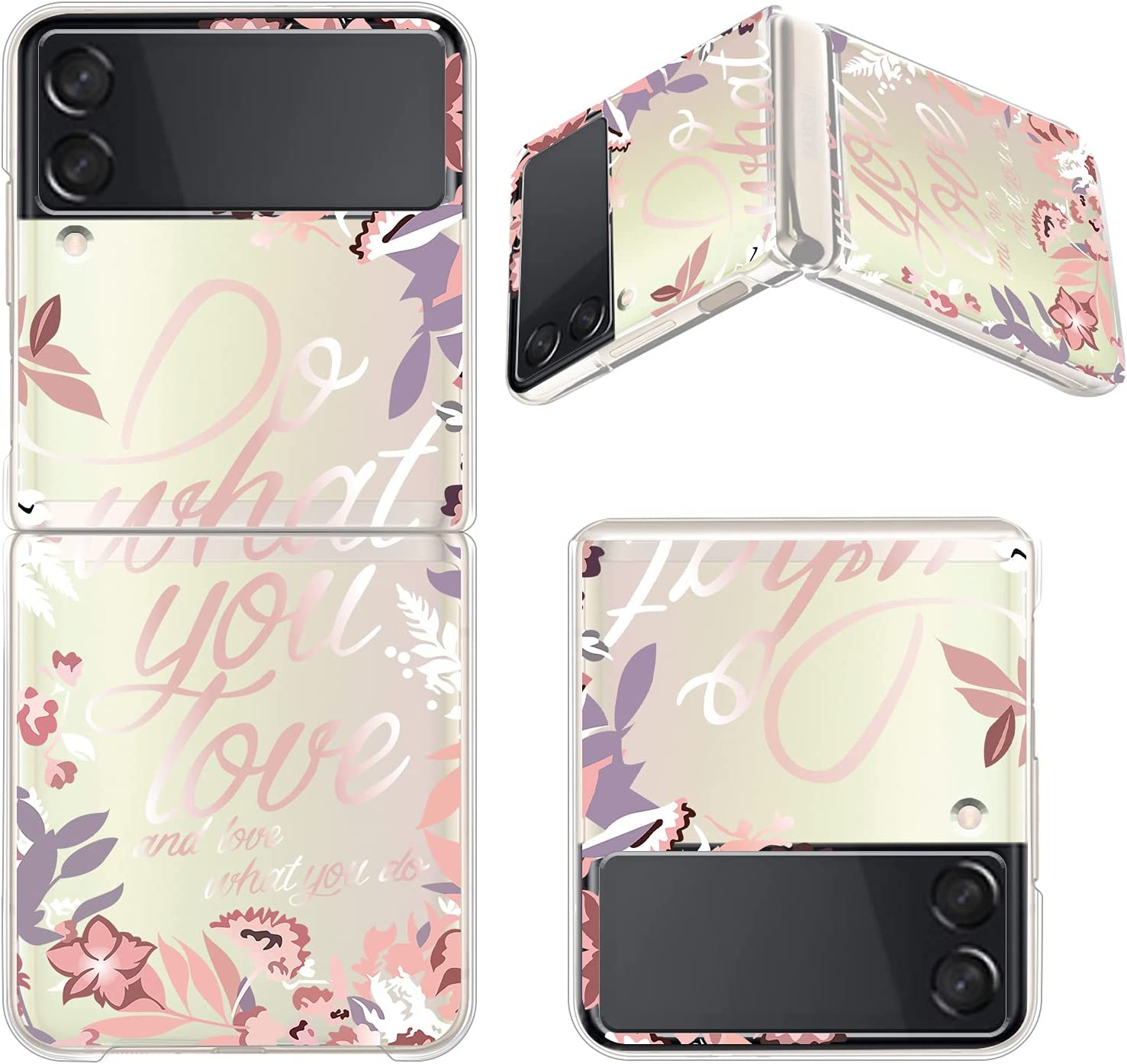 ZIYE Clear Case for Samsung Galaxy Z Flip 3 5G Case Elegant Flower Language Design Shockproof Hard PC Transparent Protective Phone Case for Women Girls Girly Samsung Galaxy Z Flip 3 Case