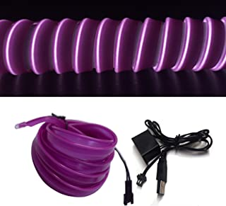 M.best USB Neon LED Light Glowing Electroluminescent Wire/El Wire for Automotive Interior Car Cosplay Decoration with 6mm Sewing Edge (5M/15FT, Purple)