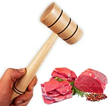 Wooden Meat Tenderizer Mallet - Practical Kitchen Tool Natural Premium Wood Heavy Duty Hammer Mallet Tool & Chicken Pounde...