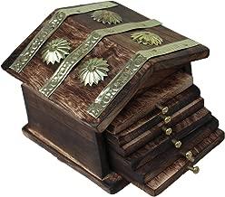 Saarthi Rajasthani Wooden Antique Beautiful Miniature Hut Design Tea Coffee Coaster Set