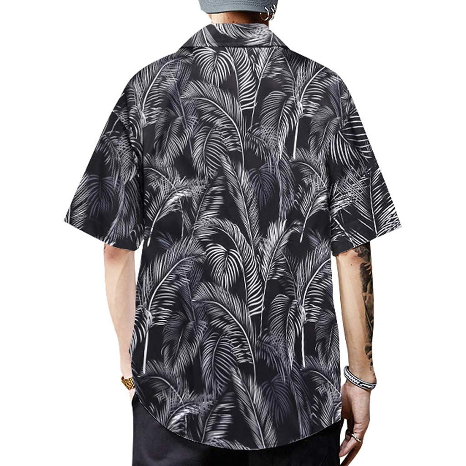JJLIKER Men's Graphic Print Beach Shirts Aloha Hawaiian Button Down Shirt Summer Hipster Hip Hop Tops Tee