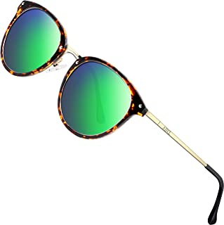 ATTCL Round Polarized Sunglasses for Women - UV Protection Metal frame
