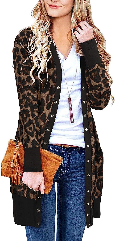 II ININ Women Long Sleeve Leopard Print Coat Knit Cardigan with Pockets Ribbed Neckline Open Front Snap Button Down Outwear
