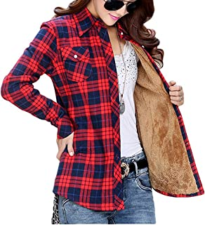 Long Sleeve Plaid Flannel Warm Shirt Fleece Lined Blouse up
