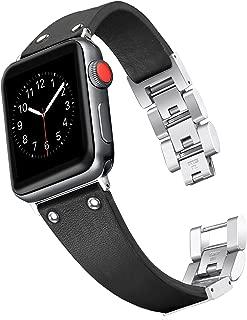 Secbolt 42mm/44mm Leather Bands Compatible Apple Watch Band Series 4 44mm, Series 3/2/1 42mm, Handmade Vintage Leather Bracelet, Black