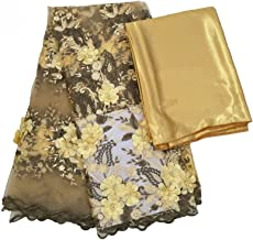 QMDSH Bruids Franse kant stofbeaded tule kant stof (Color : Gold with satin)