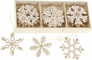 Shabby Chic de madera copos de nieve oro diseño árbol de Navidad adornos caja de 24