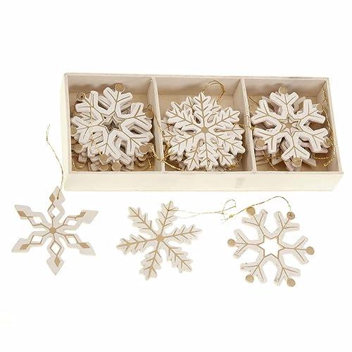 14f93a454a0 Shabby Chic de madera copos de nieve oro diseño árbol de Navidad adornos  caja de 24