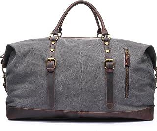 LIUFULING Travel Duffel Bags Vintage Canvas Shoulder Bags Weekend Bag for Men (Color : Gray, Size : L)