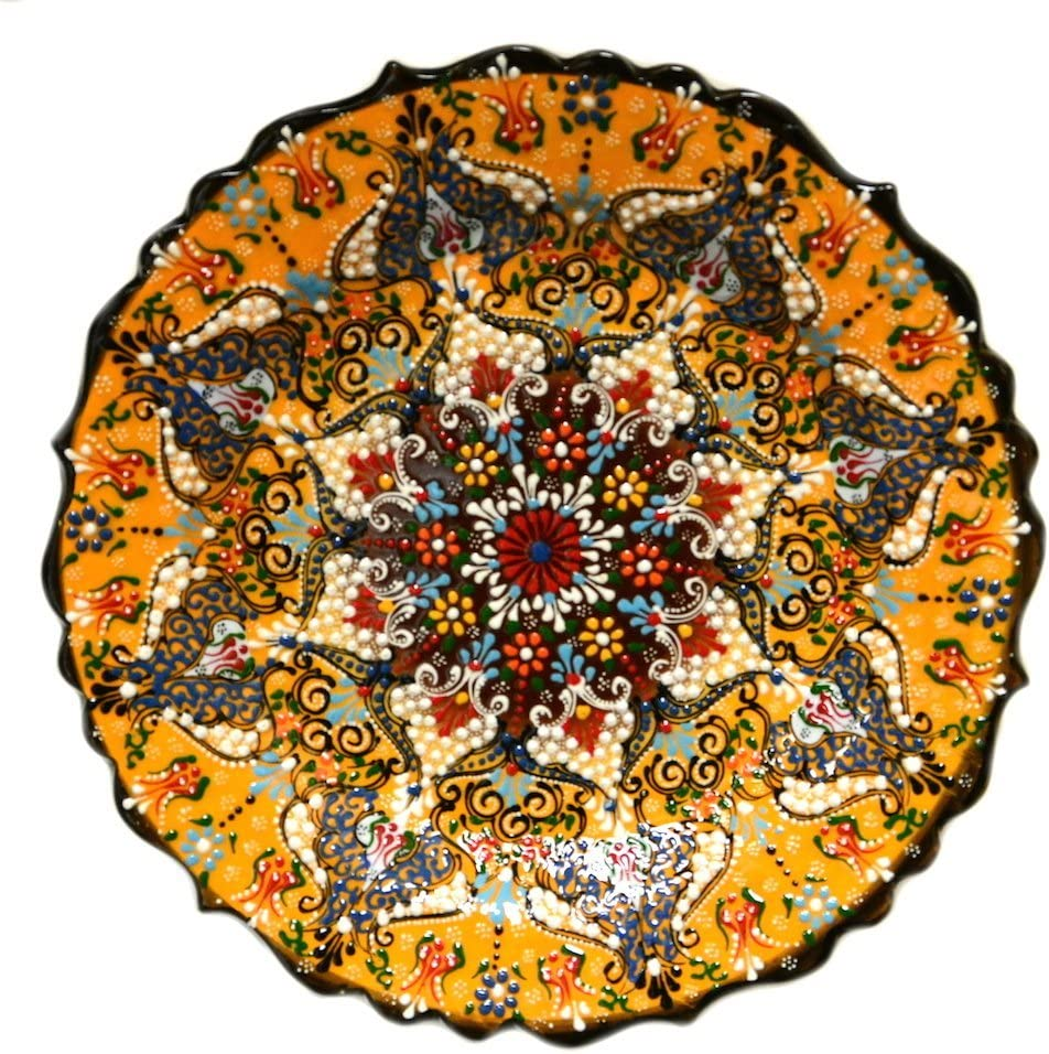 Nazar Detroit Mall Turkish Imports ~Hand Painted Indefinitely Ceramic 12inch Plate~Yellow