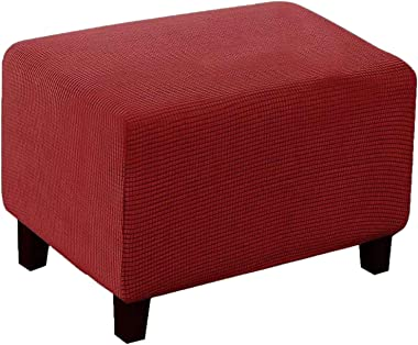 AOUTLE Footstool Cover, Rectangle Footstool Stretch Ottoman Cover Washable Modern Checked Jacquard Sofa