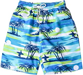 Vickyleb Men's Shorts Swim Trunks Surfing Running Swimsuit Couples Casual Stripe Painted Boardshorts with Pocket