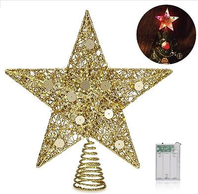 16-Light Gold Glittered Bethlehem Star Tree Topper GE Holiday Classics 11 in