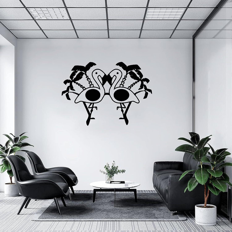 by Unbranded Pegatinas de pared para gafas de sol con palmera y flamenco negro 04, vinilo adhesivo para coches | Adhesivo de pared murales para decoración fresca de 35.5 pulgadas de ancho
