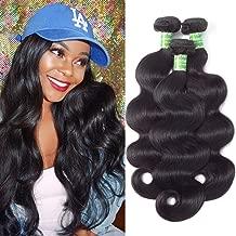 ANNELBEL Mink Brazilian Hair 3 Bundles Body Wave 16 18 20 Inches Raw Human Hair Bundles 8A Unprocessed Virgin Brazilian Hair Weave - Natural Black Color, 100g Per Bundle, Totally 300g