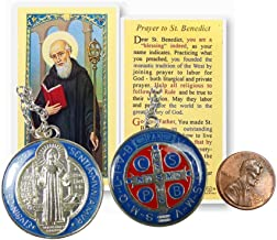 The St Benedict Medal Pendant with Silver Plated Necklace and Free Prayer Card Blessed by Pope Francis