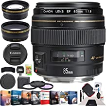 Canon 2519A003 EF 85mm f/1.8 USM Medium Telephoto Lens SLR Cameras Bundle with Photo and Video Professional Editing Suite, Cleaning Kit, 58mm Filter Kit and Accessories (5 Items)