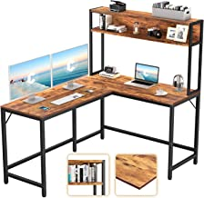 """CubiCubi L-Shaped Desk with Hutch,59"""" Corner Computer Desk,Home Office Gaming Table Workstation with Storage Bookshelf,Rus..."""