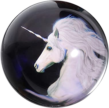Waltz&F Crystal White Unicorn Paperweight Galss Globe Hemisphere Home Office Table Decoration 2.7''