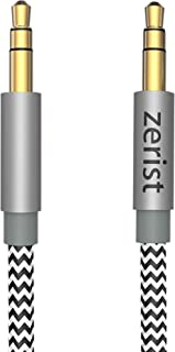 3.5mm Stereo Audio Cable Extension Male to Male Nylon Braided 3ft/1.2m Zerist Tangle-Free AUX Cable for Headphones, iPods, iPhones, iPads, Home/Car Stereos and More (Black)