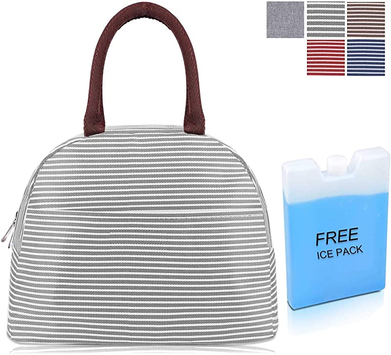 Diig Small Lunch Bags For Women Adult Lunch Box For Work Freezable Insulated Lunch Tote With Ice Pack Gift Stripe Gray