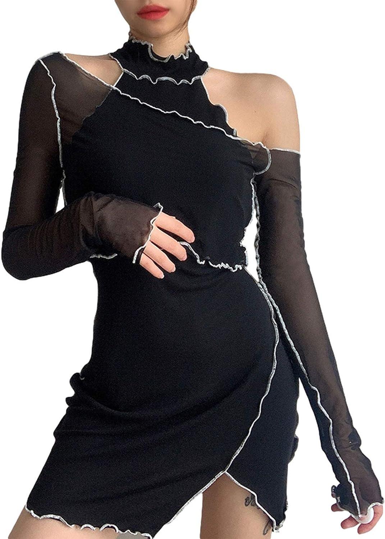 Womens Girls y2k Patchwork Stitching Off Shouder Halter Splitting Slim Mesh Dress Long Sleeve Hip Mini Dress