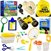 Kidz Xplore 20 Pack-Outdoor Explorer Set Nature Exploration Kit Children Outdoor Games Mini Binoculars Kids, Compass, Whistle, Magnifying Glass, Bug Catcher, for Adventure Educational Toy
