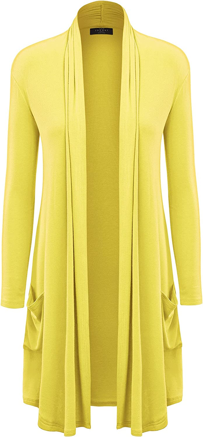 MBJ Womens Solid Long Cardigan with Pockets