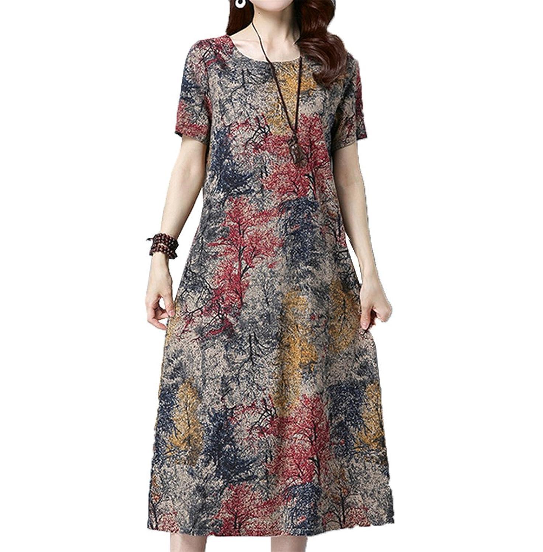 [美しいです]夏の新しいコットンリネンドレス女性の大きなサイズの緩い半袖ロングドレス