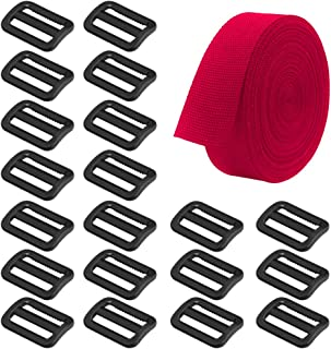 SourceTon Heavyweight Polypropylene Webbing Red 1 Inch by10 Yard & 20 Pieces Plastic Triglide Slides, Heavy Duty Poly Str...