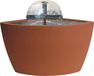 Algreen Hampton Contemporary Terra Cotta Patio and Deck Pond Water Feature Kit with Light, 35-Gallon