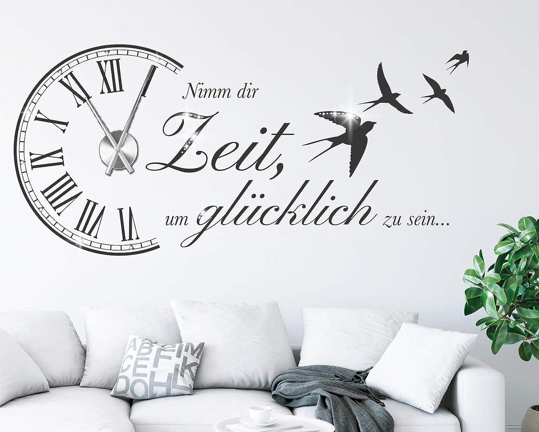 Tjapalo Wanduhr Wandtattoo Uhr Spruch Wohnzimmer