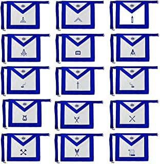 Masonic Apron Set 15 Pieces Blue Lodge Leather Apron Machine Embroidery