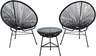 MidMod Designs Set of 2 Indoor/Outdoor Acapulco Lounge Chairs with Side Table, Black