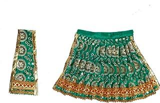 Aditri Creation Green Laxmi Durga Devi MATA Dress poshak vastra Cloth lehanga Chunari Puja Item for Idol Statues