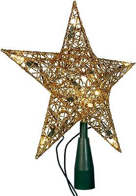 Kurt Adler 10-Light Gold Wire Treetop, 9-Inch