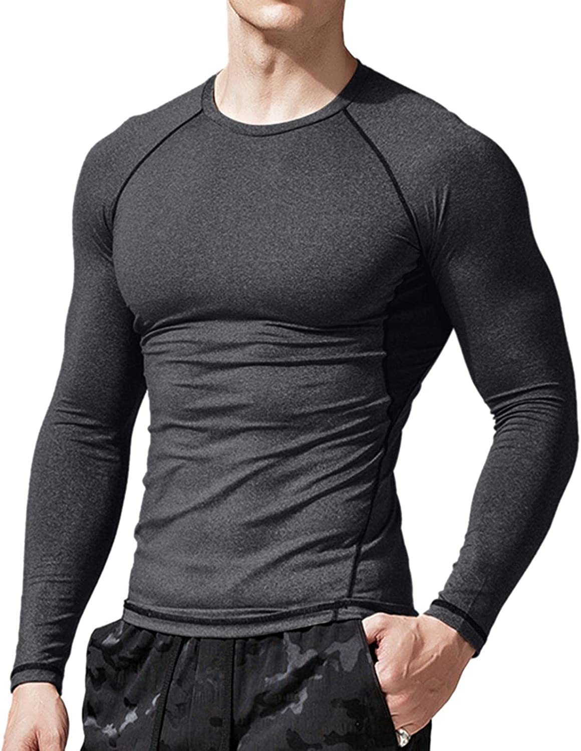 Burband Mens Standard Tech Stretch Long Sleeve Performance Tees Moisture Wicking Quick Dry Active Athletic Workout Shirts