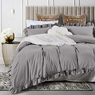 Queen's House Duvet Cover King Gray Washed Cotton Ruffles Quilt Cover Bedding King Set-Shabby Ruffle,Grey