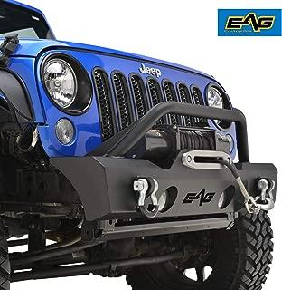 EAG Stubby Front Bumper W/Fog Light Holes Fit for 07-18 Jeep Wrangler JK