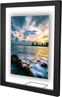 ONE WALL 11x14 Inch Floating Frame, Black Wood Double Glass Float Picture Frame Display 11x14/8x10/5x7 Inch Photos or Plant or Petal Specimens for Wall and Tabletop - Mounting Accessories Included