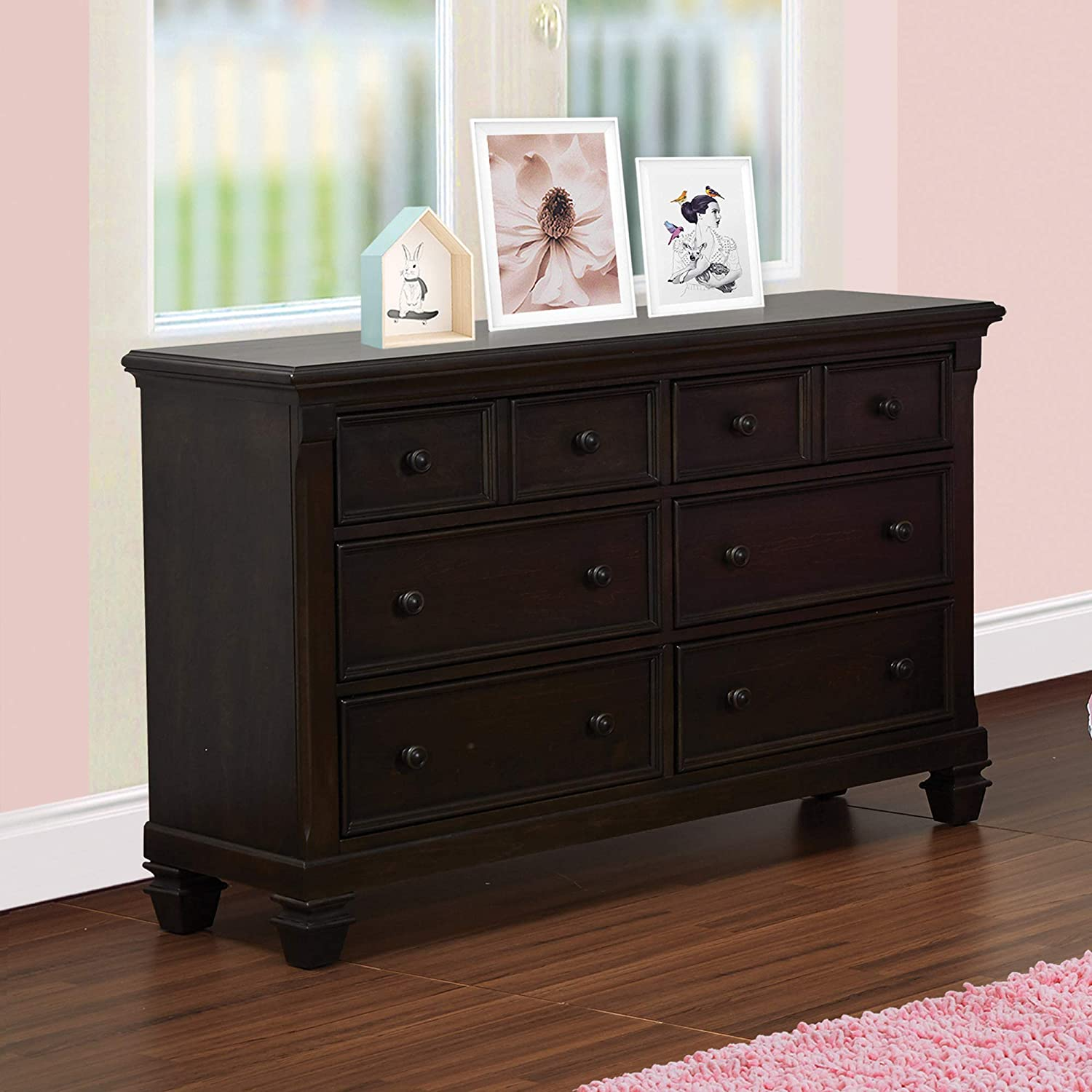 Baby Cache Glendale 6 Drawer Double Dresser, Charcoal Brown