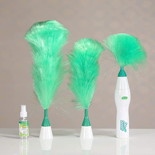 BIRDLINE Hand Held Sward Go Dust Electric Feather Spin Motorised Cleaning Brush Set Home Duster Feather Dust Cleaner Brush for Home Office Car Multicolour